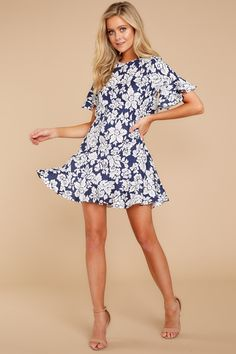 510d2dc70ab9 Cute Floral A-Line Dress - Open Back Dress - Short Dress - $48.00 –
