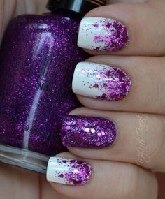 White nails with purple glitter