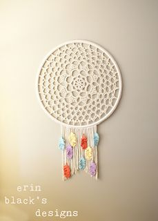 Crocheted dreamcatcher pattern -- includes crocheted feathers.