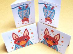 Bats folded gift tags pack of 4 peel-off tags by Ellareki on Etsy