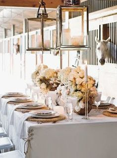 Rustic elegance and a stable backdrop makes for a dramatic Kentucky Derby party setting.