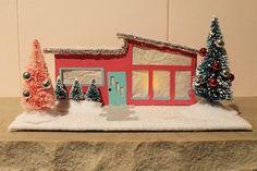 Mini-mid century modern ranch-christmas-house- Retro renovation    i have to do this!