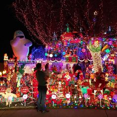 Dad and son with Christmas light display. Christmas Light Show, Christmas Light Displays, Holiday Lights, Christmas Lights, Christmas Decorations, Xmas, Christmas Tree, Magnetic Wreath Hanger, Poinsettia Plant