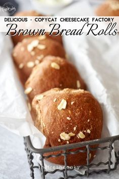 Soft and chewy, these Sweet Molasses Brown Bread Rolls are simple and scrumptious. A touch of molasses and honey, healthy whole wheat flour give these rolls amazing texture and great flavor, similar to Outback or Cheesecake Factory Brown Bread. Recipe via Wheat Bread Recipe, Bread Recipes, Cooking Recipes, Outback Brown Bread Recipe, Flour Recipes, Copycat Recipes, Chicken Recipes, Cheesecake Factory Brown Bread, Cheesecake Factory Recipes