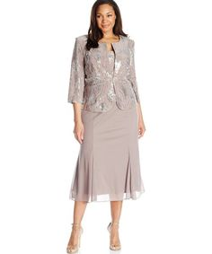tea length taupe sequin two piece mother of bride plus size dress Alex Evenings