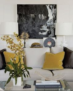 living room of mustard and grey - would like to see more of the room