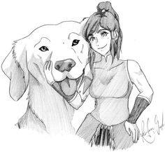 Avatar Korra and Naga the Polar Bear Dog from Avatar Legend of Korra.
