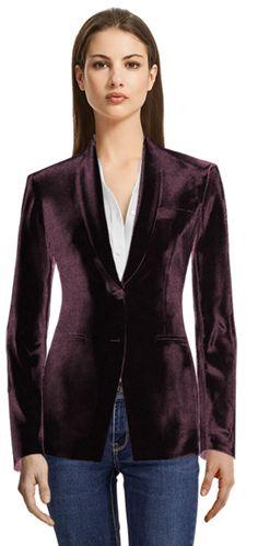 Burgundy Velvet Sumissura blazer Blue Tuxedo Jacket, Black Tuxedo, Cropped Blazer, Casual Blazer, Design Your Shirt, Party Jackets, Blue Tuxedos, Black Velvet Blazer, Business Casual Dresses