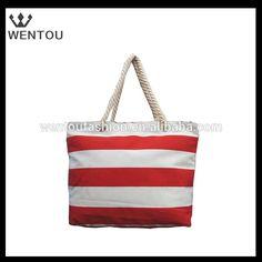 Wholesale personalized canvas stripe tote bag