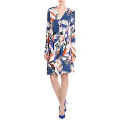 Emilio Pucci Printed Wrap Dress (50,205 INR) ❤ liked on Polyvore featuring dresses, cocktail dresses, evening wrap dress, special occasion dresses, wrap dress and long sleeve cocktail dresses
