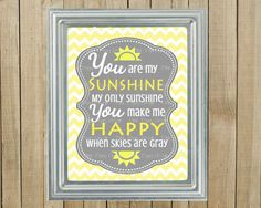 Trendy Yellow Chevron with Gray You Are My Sunshine Nursery Wall Decor, Playroom, Gift, Printable, Custom Digital File