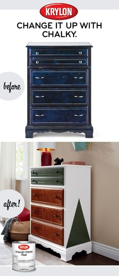 Everyone loves a before and after, especially when the after looks great thanks to Krylon®Chalky Finish Paint. Refurbished Furniture, Paint Furniture, Repurposed Furniture, Furniture Projects, Furniture Making, Furniture Makeover, Home Projects, Dresser Remodel, Cleopatra History