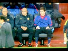 Leo messi at bench.