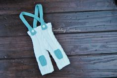 Newborn Photography Prop - Upcycled Cream Cable Knit Pants with Beautiful Teal Suspenders -Ready To Ship
