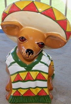 Chihuahua Cookie Jar | Clay Art adorable Ay Chihuahua Tito Cookie Jar Collectible in box 1999