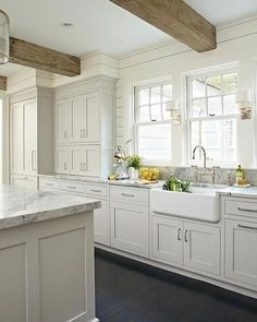 Light gray + natural wood beauty -- loving every detail.  Also 20 vintage rug picks on beckiowens.com.  @kitchensbydeane