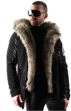 GRMO Men Thicken Outdoor Faux Fur Jacket Windproof Coats