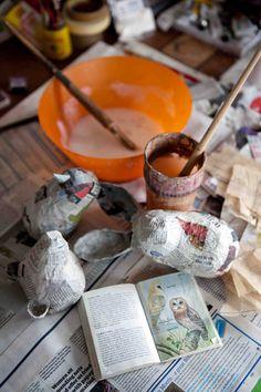 Papier Mache  http://www.craftsinstitute.com/making/techniques/papier-mache/how-to.aspx#