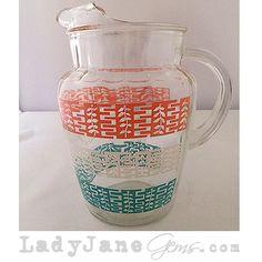 Lady Jane's Gems - Pre-Loved Retro Glass Pitcher Pink, Teal,  www.ladyjanesgems.com #serving #spring #summer #parties #retro #pink #teal #white #serving pitcher #home #house #accessories #glass #ladyjanesgems
