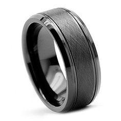 $24----Tungsten-Carbide-Ring-Wedding-Band-Mens-Jewelry-Black-Brush-Bevel-Edge-NEW