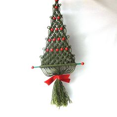 vintage 1970's macrame christmas tree wall by RecycleBuyVintage