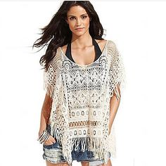 Hai Shang Women's White Lace Beach Knitted Fabric Top YW263002 - USD $13.99