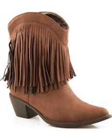 Roper Short Fringe Cowgirl Boots - Snip Toe, Brown