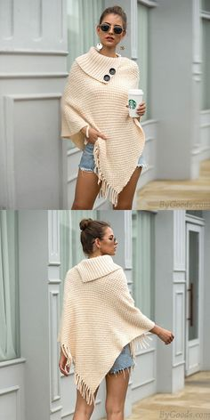 Cheap Leisure Knitting Fringed Cloak Shawl Irregular Button Half Open Collar Solid Color Hooded Ladies Sweater For Big Sale! Half Sweater, Sweater Coats, Sweater Cardigan, Winter Sweaters, Women's Sweaters, Pullover Sweaters, Knit Jacket, Cloak, Sweater Fashion