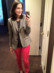 Great outfit via @Sally McGraw, especially the red jeans