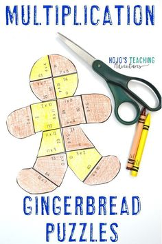 These multiplication gingerbread man puzzles are great for upper elementary 3rd, 4th, or 5th grade kids during the winter months. Perfect for math centers, review, fast finishers, small group work, partners, or individual critical thinking practice. Makes bulletin boards & worksheet and coloring page alternatives. Third, fourth, and fifth graders approve! #GingerbreadActivities #GingerbreadManActivities #ChristmasMath #GingerbreadManMath #GingerbreadMath