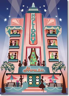 Art Deco Holiday House Card