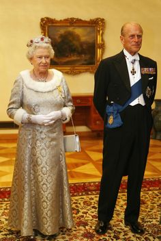 Queen Elizabeth and Prince Philip are pictured before a dinner with Slovenia's President Danilo Turk at Brdo Castle in October 2008.