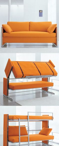 Furniture and Accessories. inspiring Multipurpose Furniture for Small Spaces. Multipurpose Folded Bunk Bed From Convertible Couch With Orange Color and Soft Sheets with Two Cushions for Living Room Idea Sofa Bed Bunk Bed, Cool Bunk Beds, Murphy Bunk Beds, Dorm Couch, Sofa Sofa, Cool Furniture, Furniture Design, Multifunctional Furniture, Multipurpose Furniture