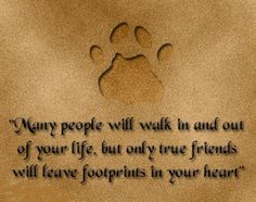 """""""Many people will walk in and out of your life, but only true friends will leave footprints in your heart."""""""