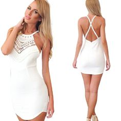 Gillberry Sexy Women Slim Summer Lace Gallus Cross Sleeveless Backless Dress New * This is an Amazon Affiliate link. Learn more by visiting the image link.