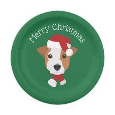 Jack Russell Dog Santa Claus Paper Plate - Xmas ChristmasEve Christmas Eve Christmas merry xmas family kids gifts holidays Santa