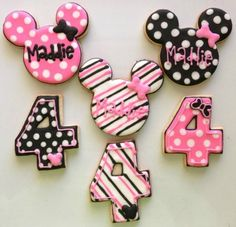 Funky Minnie Mouse Custom Cookies (24cookies). $60.00, via Etsy.