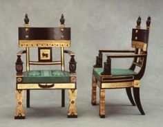 Chapter 4, Furniture - Regency Egyptian Revival style armchairs by Thomas Hope