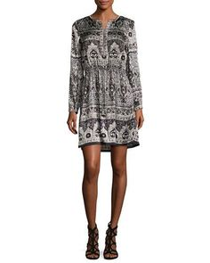 Calypso St Barth Nona Long-Sleeve Beaded and Embroidered Dress, Navy White Silk Dress, White Long Sleeve Dress, Long Sleeve Tunic, Dress Long, Cashmere Sweater Dress, Cashmere Sweaters, Snow Dress, Clothes, Dresses