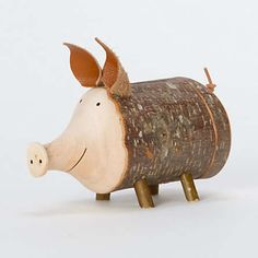 Porky Wooden Penny Savers : twiggy piggy bank