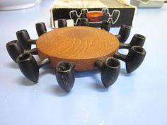 Candleholder Digsmed Denmark teak & cast iron 60s original-boxed rare