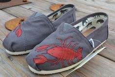 Hand painted Toms Shoes  Red Lobster Painted by solemateshoes, $85.00