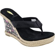 SALE - Womens Volatile Rosebriar Wedge Heels Black Leather - Was $59.00 - SAVE $10.00. BUY Now - ONLY $49.00.
