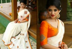 Neerja - Love for white is an epidemic!! On this white a few colors can do super-sonic magic!! Off white handloom saree with pink and peach lotus cutwork diamond motiff on chest and pallu area along with orange and gold border paired with orange raw silk blouse and cut beads embroidery and cutwork square motiff on the sleeves