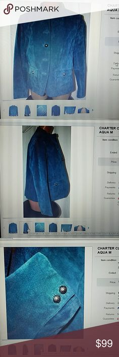 Charter suede leather jacket short trench coat M Charter Club soft suede leather jackets short trench military style coat. color aqua. size medium. Very good condition clean. missing one button. size petite. Charter Club Jackets & Coats Blazers