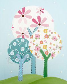 Childrens Art Print  Brooke Trees 8x10  childrens by rkbrushworks. , via Etsy.