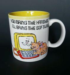 RAJ Coffee Mug Cup  Vintage Computer Software Hardware Cat Yellow 10 fl oz C5