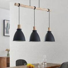 Lindby Trebale lampa wisząca, 3-punktowa Wood Detail, Led Lampe, Living Room Lighting, Metallic Paint, Hanging Lights, Pendant Lamp, Floor Lamp, Light Bulb, Decoration