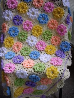 Granny Square Crochet Blanket...Baby Crib by GalyaKireva on Etsy