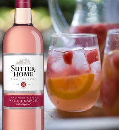 Laura's Sangria (big batch!) -Sutter Home White Zinfandel – 1 bottle (750ml) -1 cup peach schnapps -1/2 cup vodka -2 cups white cranberry peach juice -Fruit ice cubes (add slices of peaches, strawberries, oranges, etc into your ice cube trays, fill with water & freeze) Combine ingredients over fruited ice & serve out of a drink dispenser or pitchers